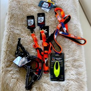 Assortment of small collars and harness